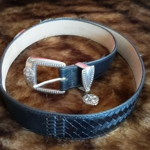 Brighton Leather Silver Buckle and Hearty Charm